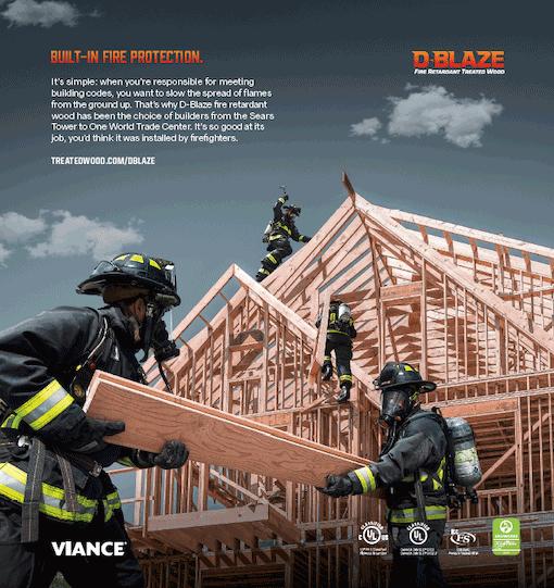 D-Blaze Fire Retardant Treated Wood ad