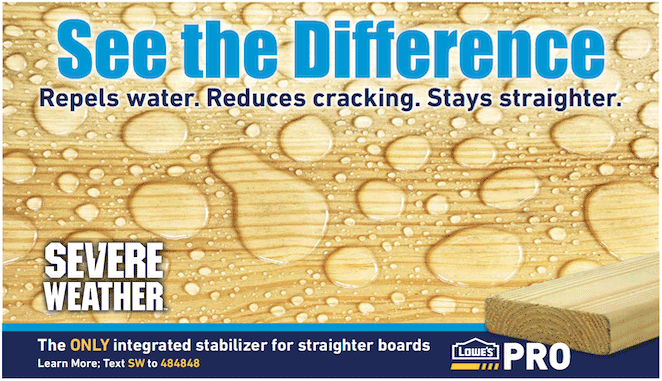 Severe Weather Treated Lumber Has An Integrated Stabilizer That