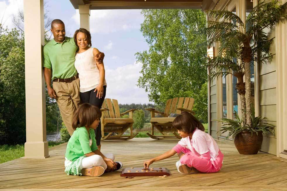 Porch Deck Girls Playing Checkers Landscape
