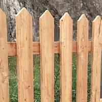 short natural wood picket fence