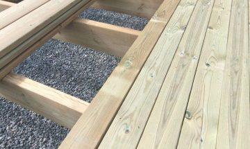 Ecolife decking shown on decking joists