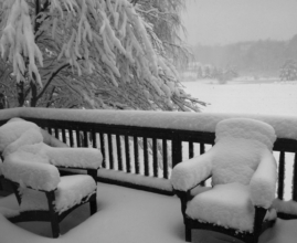 Winter Deck With Snow