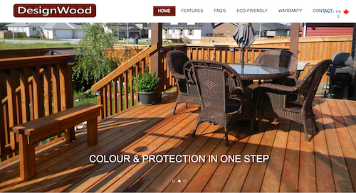 Design Wood website home page